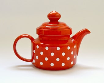 Vintage Wächtersbach Red Spotty Teapot