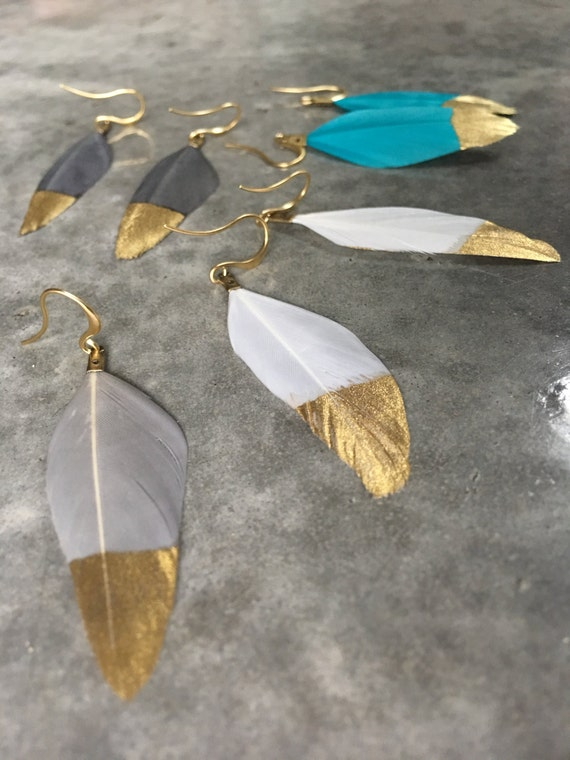 Feather Earrings, gold dipped, boho jewelry