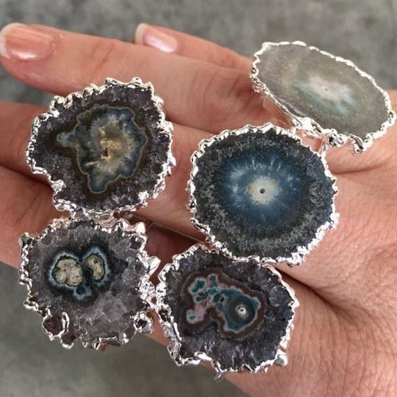 Stalactite Amethyst Sliced Druzy Rings, Statement rings