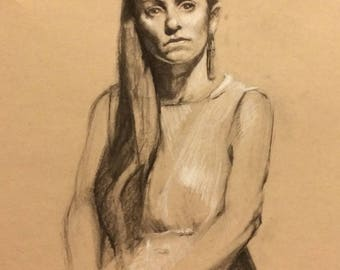 original charcoal and pencil on paper seated nude woman