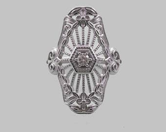 Filigree Deco Cocktail Ring in Sterling Silver