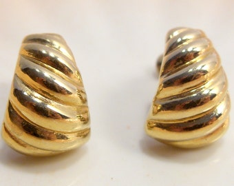 Napier Small Gold Tone Clip Screw Back Earrings