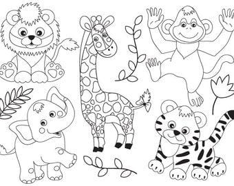 70% OFF SALE Jungle Animals Clipart - Digital Vector Safari Animals, African, Jungle Animals Clip Art