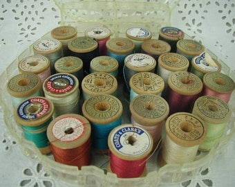 Vintage Sewing Thread, 28 Spools of Multi-Color Thread, Assorted Colors, Wooden Spools