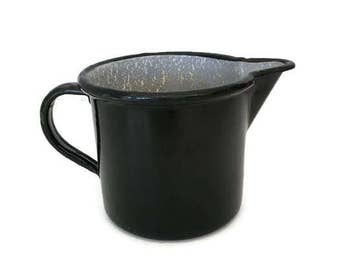Vintage Enamelware Pitcher German Heavy Duty Black and Gray Speckled with Handle and Spout Modern Country Decor