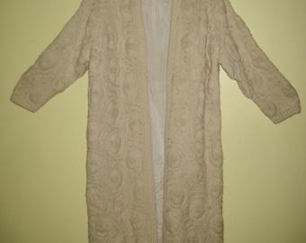 LONG SWEATER CARDIGAN Flowers Knit Crochet Ivory Off White Lined Open Duster Coat