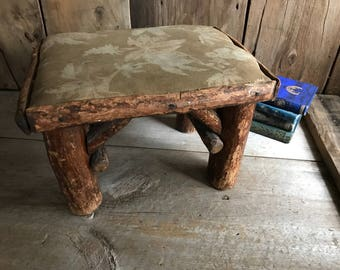 Rustic Twig Log Wood Cabin Stool, Small Bench Seat, Country Cottage Log Cabin Farmhouse Primitive