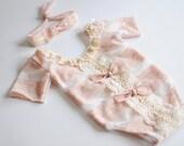Newborn Romper set girl bodysuit and tieback lace bows romper newborn short sleeve romper Newborn Photo Prop, bodysuit - Made to Order