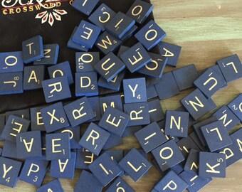 Blue Scrabble tiles / 100 Vintage Blue Scrabble Game Tiles 50th Anniversary Set 1998