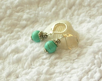 "Small Turquoise color Howlite semi precious gemstone, Bali style bead caps, 1.25"" dangle silver lever back earrings"