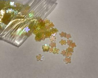 Tiny bright yellow iridescent flower confetti , 3 mm (39)
