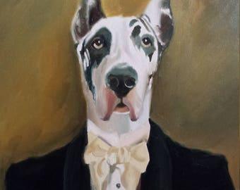 Dog Portrait from Photo - Custom Pet Painting Oil on Canvas - Hand Painted Fine Art - Pet Portrait - Dog Portrait Cat In Uniform