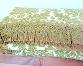 Vintage Tapestry Damask Olive Green Fringed Bedspread Full/Double/Queen