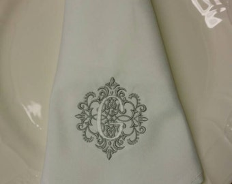 Embroidered Monogrammed Linen Wedding Napkins