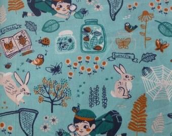 1/2 Yard Organic Cotton Fabric - Birch Fabrics, the Hidden Garden, Bug Catcher