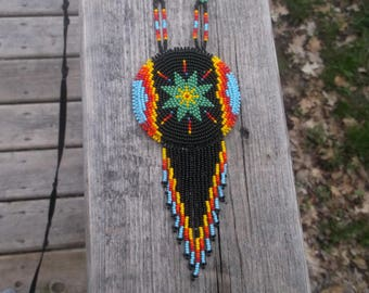 native american beadwork, morning-star necklace