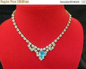 On Sale Blue Rhinestone Necklace Item K #83