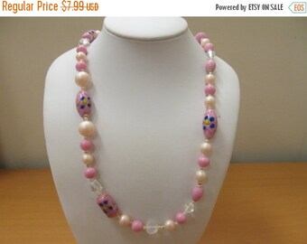 On Sale Vintage Pink Glass and Faux Pearl Beaded Necklace Item K # 3044