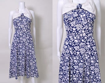 Vintage 1930s Dress 30s Cotton Novelty Print Blue and White Fruits