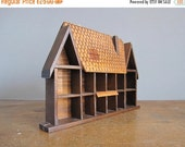ON SALE Vintage Shadow Box - Display curio Wooden Box Miniature Cabinet dolls house