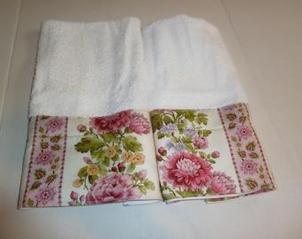 Summer Garden Decorative Hand Towels, Powder Room Towels, Kitchen Towels, Spring & Summer Decorated Hand Towels, (Set of 2)
