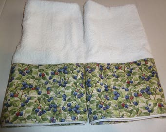 Colorful Blueberry Garden Hand Towels (Set of 2), Blueberry Hand Towels, Kitchen, Bath or Powder Room Towel Set.