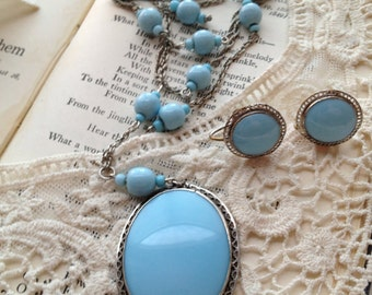 Vintage Baby Blue Czech Glass Long Necklace and Earring Set