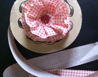 3 yards vintage pink gingham ribbon, stiffened, waterproof, treated cotton, can be shaped, made in USA