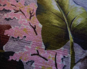 Vintage 1950's, 60's Mid Century Chartreuse, Pink, Browns Barkcloth Fabric, 3 yards plus