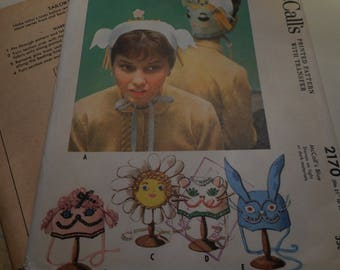 Vintage 1950's McCall's 2170 Fun Costume Caps Sewing Pattern, One Size
