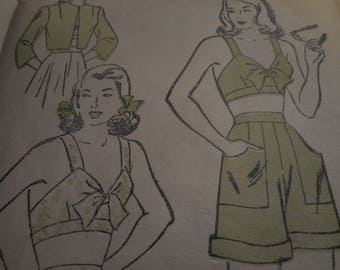 Vintage 1940's New York 266 Skirt, Shorts, Bra and Bolero Sewing Pattern, Size 14 Bust 32