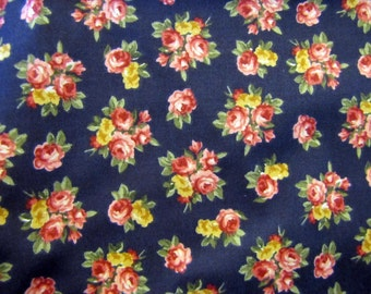 Vintage Navy and Pink Floral Fabric, Cotton, Fabric, Quilters Weight Fabric, Pink, Black, Floral, 1990's, Marcus Brothers Textiles, Blue
