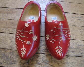 VTG 1970's Folk Art Wooden Juvenile Clogs, Clogs, Sabots, Painted Wooden Shoes, Red, Wooden Shoes, Folk Art, Dutch, Folk, Souvenir, Clogs