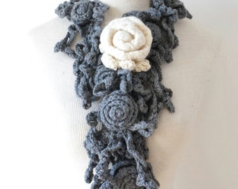 Elegant Rose Scarf, Gray and Ivory Crochet Scarf, Gray scarf with Ivory Rose brooch, merino wool scarf