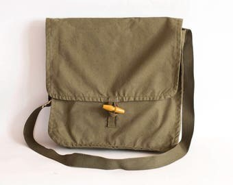 Vintage Military Bag Khaki Cotton Canvas Messenger School Crossbody Bag, Unisex Travel Bag in Army Green, Army Surplus
