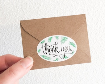 Fern Thank You Stickers - Pack of 10, 25 or 100 - Thanks Sticker - Hand lettered Stationery Sticker - Snail Mail Sticker Packaging  S4007