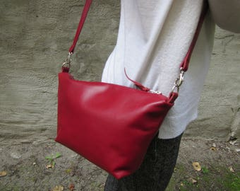 MH handmade leatherbag OSLO Gr. S red