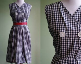 """1950s Princess Peggy Cotton Day Dress - Black and White Checked Dress - Large XLarge 32"""" Waist"""