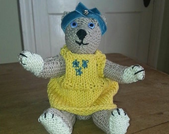 Artist Bear called Ethel - Hand-knitted Bear MADE TO ORDER