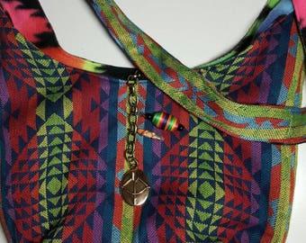 """Crossbody Bag  Reversible Washable  """"NEON AZTEC """" Hobo Purse Tribal Boho with Keychain / Bagcharm"""