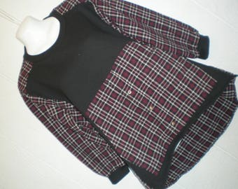 Black Sweatshirt with plum plaid Flannel shirt, upcycled men's shirt, cozy and comfy, ladies medium large. Your new favorite shirt!