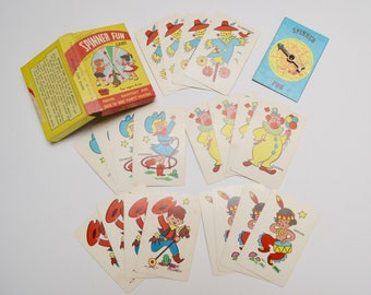 vintage childrens card game, spinner fun by warren games, a built rite toy: scarecrow, clown, indian, cowboy, cowgirl