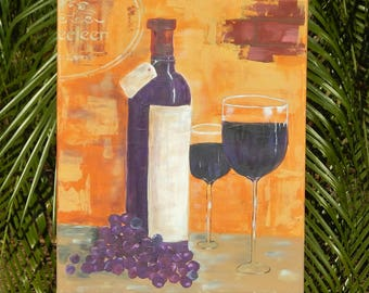 Shabby Chic, Hand painted, Handpainted, Wine Bottle, Wine Glasses, Grapes, Rustic Look, Multimedia, Acrylic