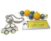 Fordite Fun, Fordite Beads, License Plate, Michigan Plate, Vintage Buri Beads, Jewelry Kit, Car Paint, Discount Destash, Retro, Car Charm