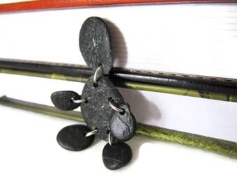 Pebble People, Mr. Pebbles, Jack Black, Pebble Brooch, Pebble Pin, Black Stones, Lake Michigan Stones, Pebble Figure, Handmade, Hand Crafted