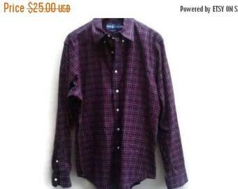 SALE Ralph Lauren Plaid Shirt Classic Fit size L Large Men's