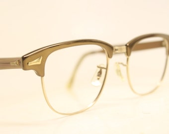 Brown Browline 1950's Wire Rim Eyeglasses G Man Clubmaster Style Malcolm X glasses g man eyeglasses