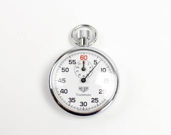 Vintage Heuer Stopwatch, Heuer Trackmate, Stainless Steel Vintage Stopwatch, Heuer-Leonidas SA, Switzerland,  1980s Stopwatch, Epsteam