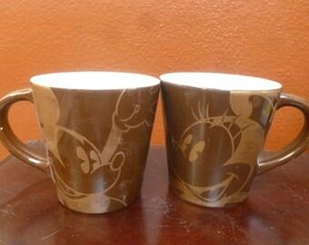 Disney Mickey Minnie mug set brown gold tone sky blue inside