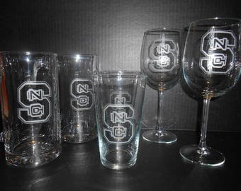 Hand Etched Glasswear